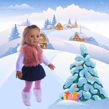 Fleta 4Pcs/Set American  Doll Clothes Set Winter vest T-shirt Dress Legging For 18 Inch Our Generation Accessories Suit