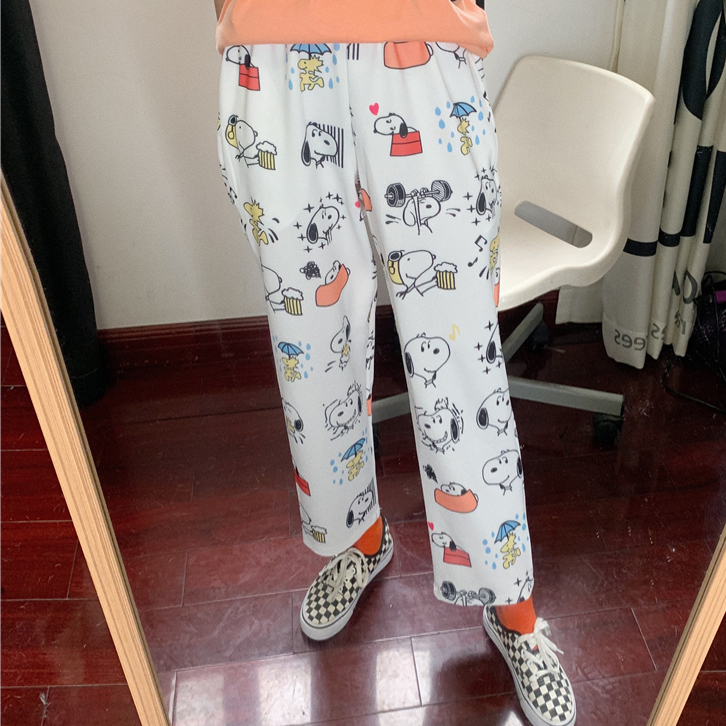 Summer trousers new preppy style women   pants   super cute cartoon print elastic waist   wide     leg     pants   cute casual bottoms female