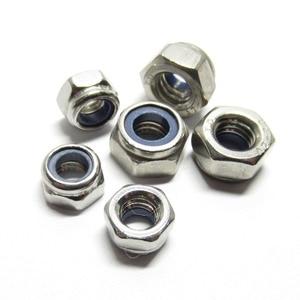 50/30/10pcs DIN985 M2 M2.5 M3 M4 M5 M6 M8 M10 M12 Stainless Steel Self-locking Nut Nylon Lock Nut Locknut Slip Nylon Hex Nut