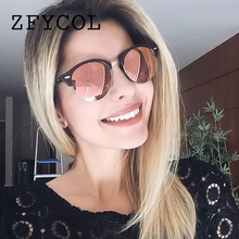 ZFYCOL 2017 Fashion Sunglasses Women Brand original Designer Vintage Round Sun Glasses For Female/Male Driver Glasses Men BO128