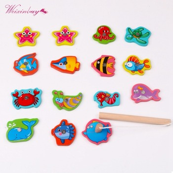 2019 Children Baby Educational Toy Iron Box Fishing Wooden Game Set Novelty Toys Cognition Magnetic Toys Set Kids Gifts 1