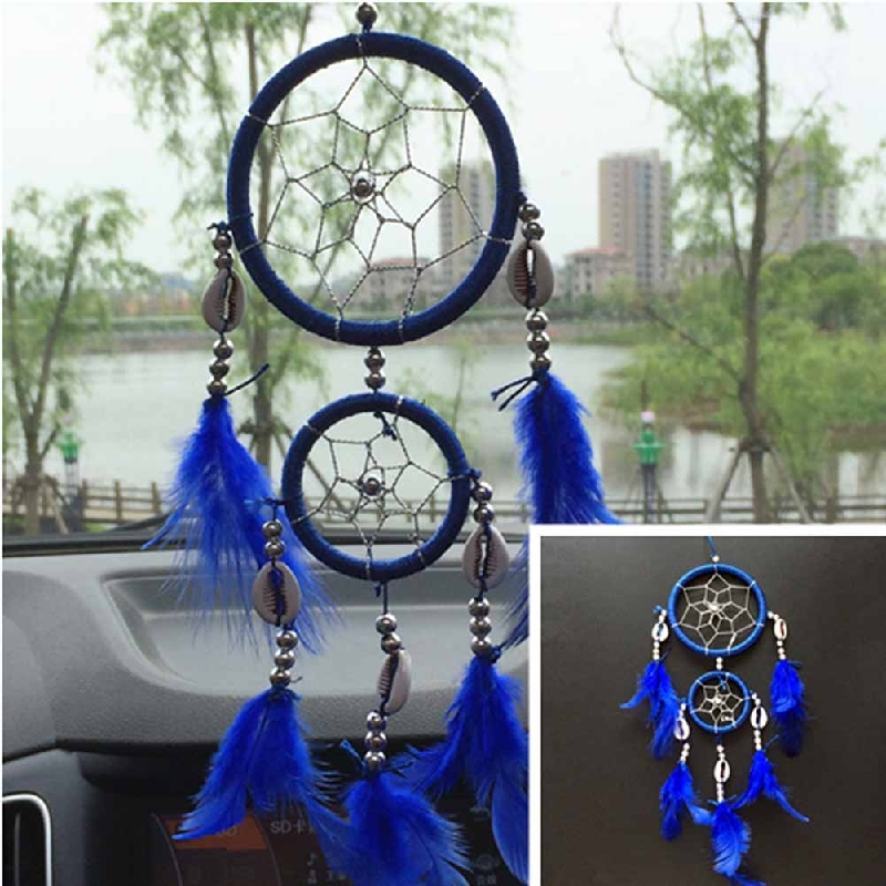 2 circles dream catcher feathers core bead dreamcatcher for Room decor hanging