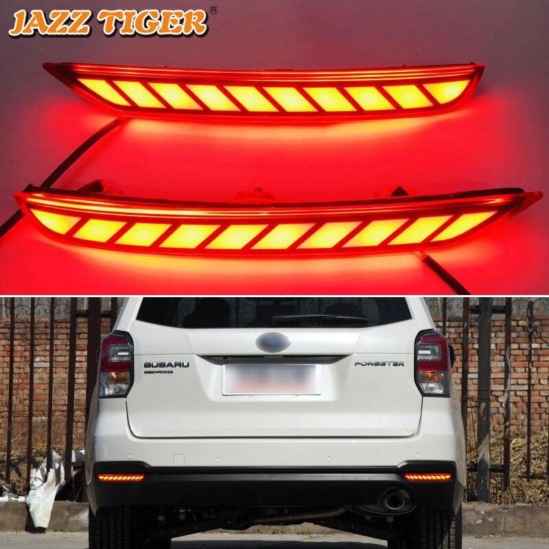 JAZZ TIGER Car LED Rear Fog Lamp Brake Reflector Bumper Light Turn Signal Decoration Lamp For Subaru Forester 2008 2016