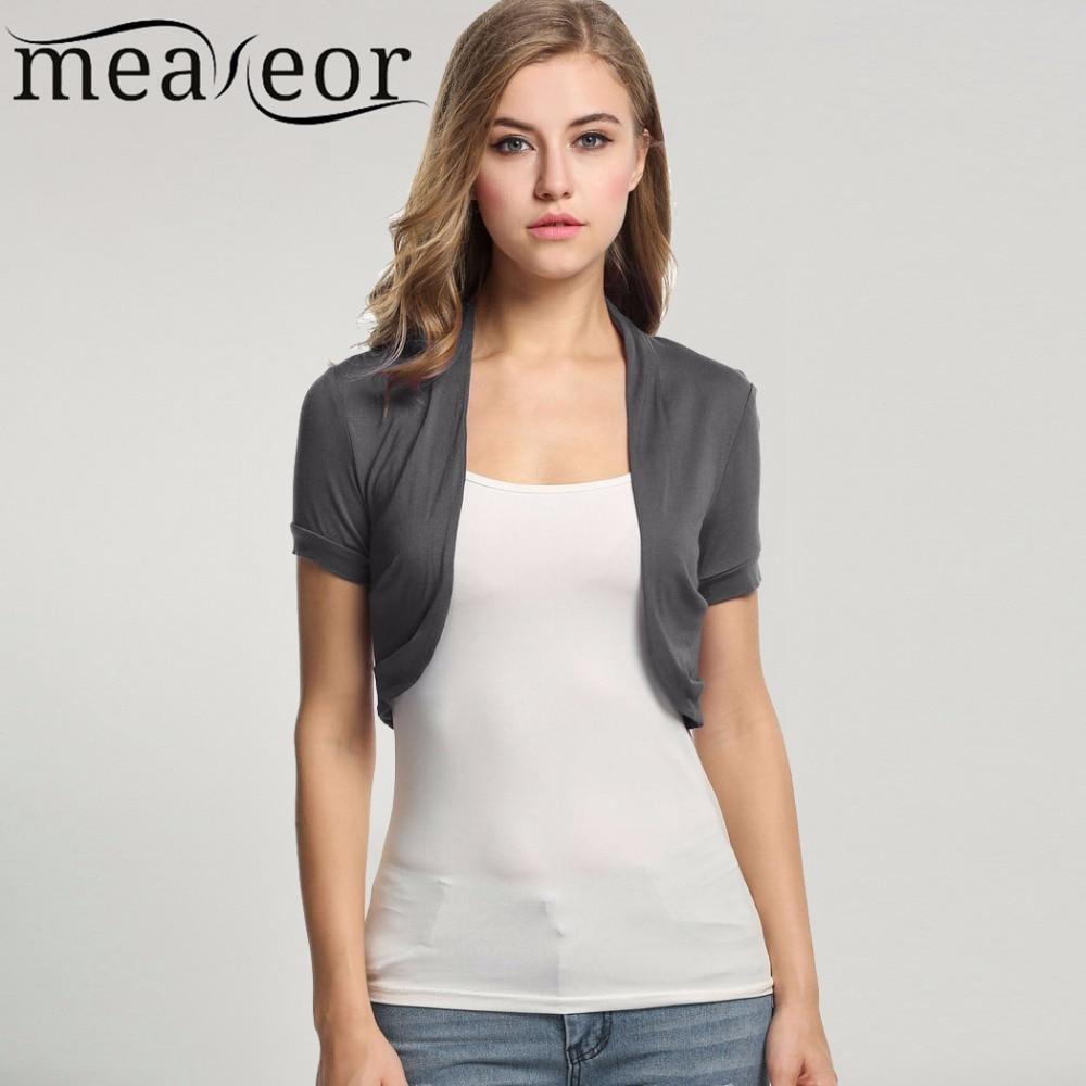Fashion Ladies  Short Sleeve Open Front Cardigan Shrug Crop Top M-3XL