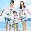 Estilo de verão da família roupas combinando roupas pai mãe filho filha combinando roupas de praia shorts t clothing set desgaste