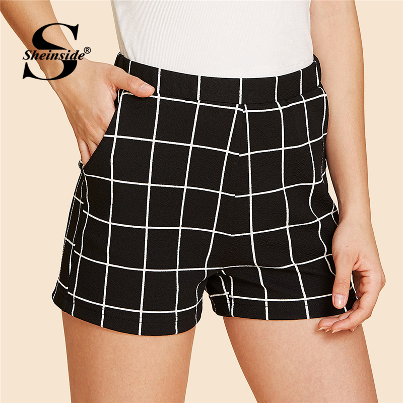 Sheinside Elastic Waist Grid   Shorts   2018 Summer Mid Waist Straight Leg Pocket   Shorts   Women Black Plaid OL Work Elegant   Shorts