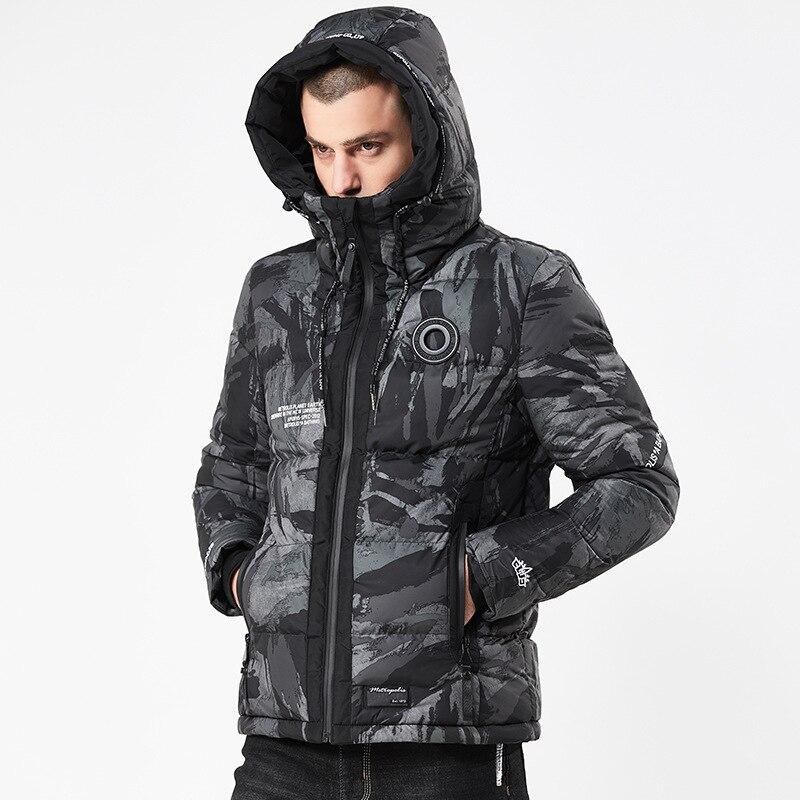 Più il Formato M-XXXL Rivestimento di Inverno Degli Uomini Vestiti Cappotto Camuffamento di Spessore PARKA