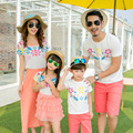 Summer Family Outfits Fashion Flower Print T-Shirt Shorts 2Pcs Set For Dad Son Matching Clothes For Mother And Daughter Dress