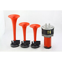 Trumpet Musical Electronic 3x Red Air Horn Compose Car Truck Boat motorcycle horn 12V Free shipping