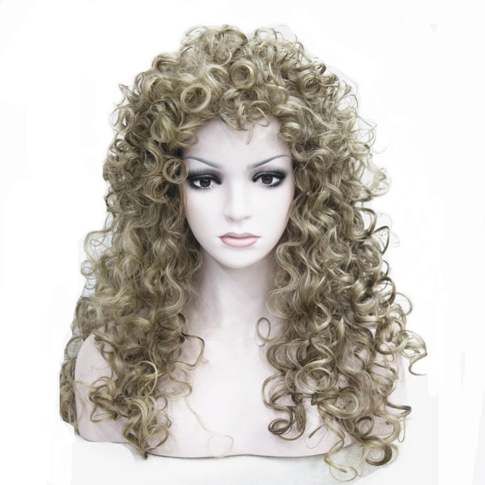 Long Blonde Highlights Mix Full Curl Synthetic Wig COLOUR CHOICES