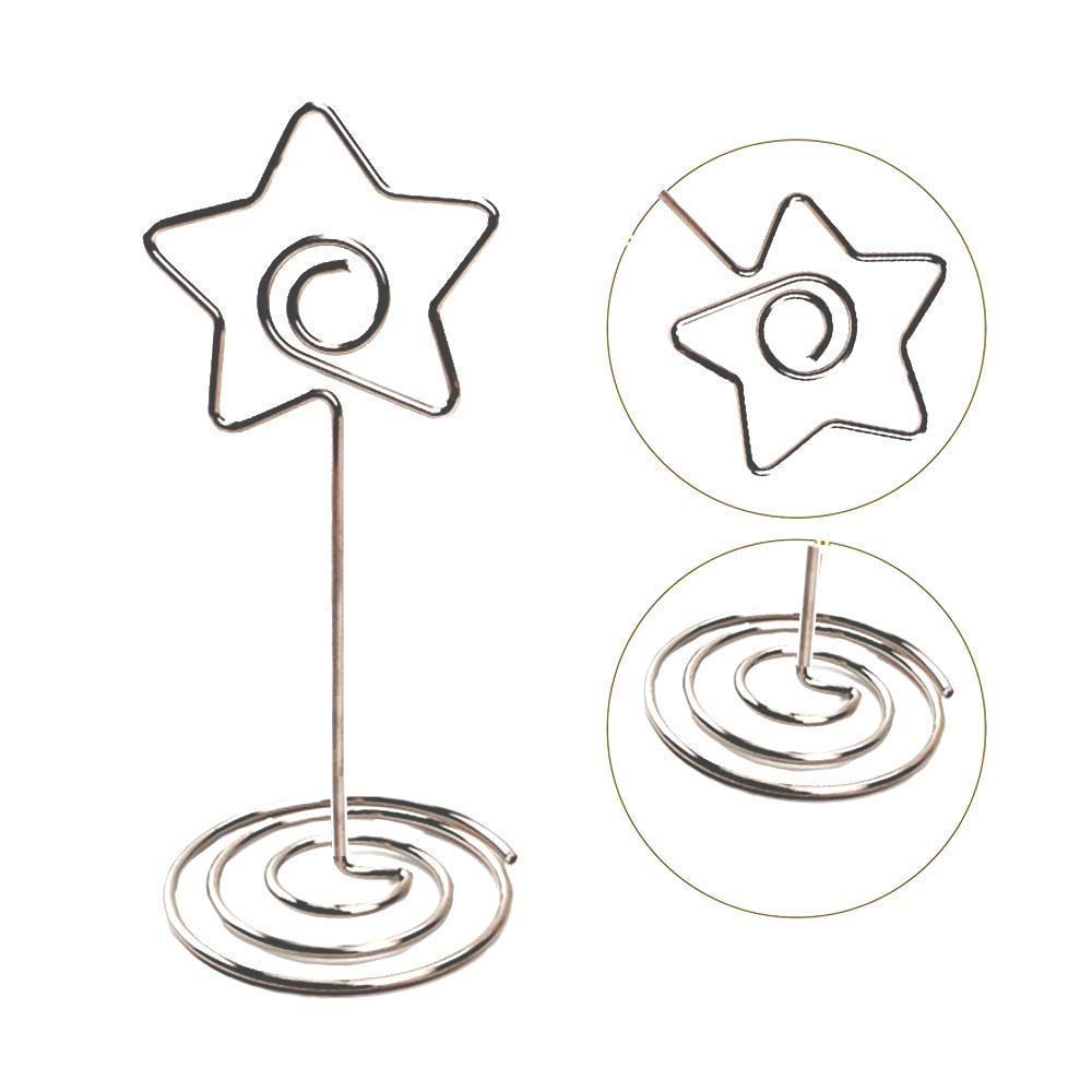 Able Xrhyy 2pcs Card Holder Place Card Holders Table Number Stands Wire Table Picture Photo Holder Name Menu Memo Clips Star Shape Clips