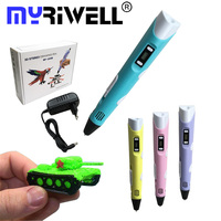 Myriwell DIY Doodl PEN 3D Stereoscopic Printing Drawing Pen Crafting Modeling With LCD Screen 10 Colors
