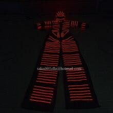 Мода 2016 года многоцветный СВЕТОДИОДНЫЙ световой Свая Робот Костюм Костюмы для бальных танцев партии во главе Костюмы растущий свет kryoman робот сценический костюм