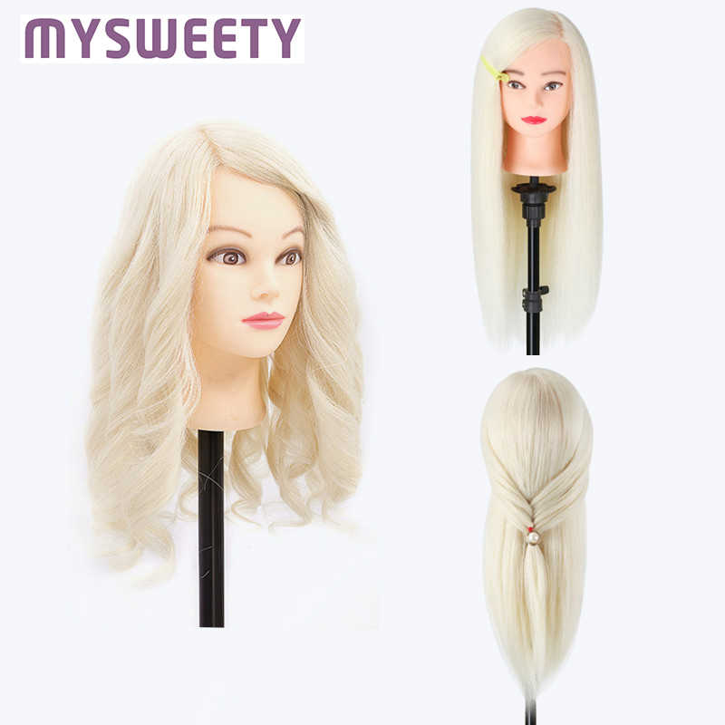 50% Real Hair 60 cm Professional Styling Head Wig Head Stand Mannequin  Hairdressing Dummy Doll Training Mannequin Head