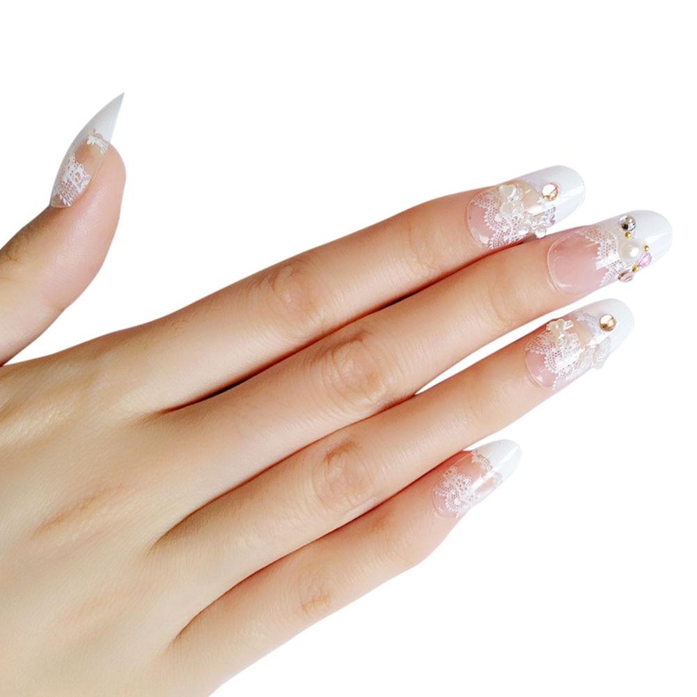 24 Pcs/Set Women Lady 3D False Nails With Glue Transparent Lace Designed Full Wrapped Tips Wedding Bride Fake Nail WH99