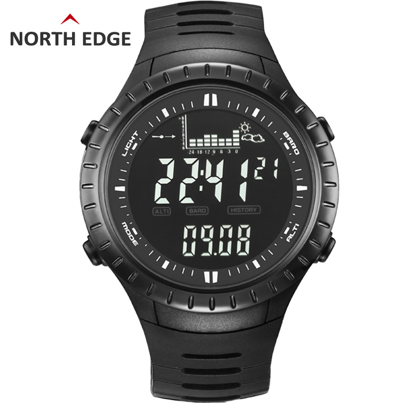NORTHEDGE digital watches Men watch outdoor fishing electronic altimeter barometer thermometer altitude climbing hiking hours ezon multifunction sports watch montre hiking mountain climbing watch men women digital watches altimeter barometer reloj h009