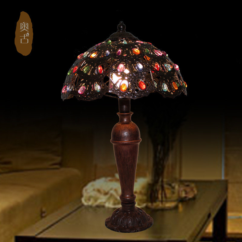 Tiffany lamps pastoral colored plexiglass decorative lamp bedroom bedside lamps den gifts A-76