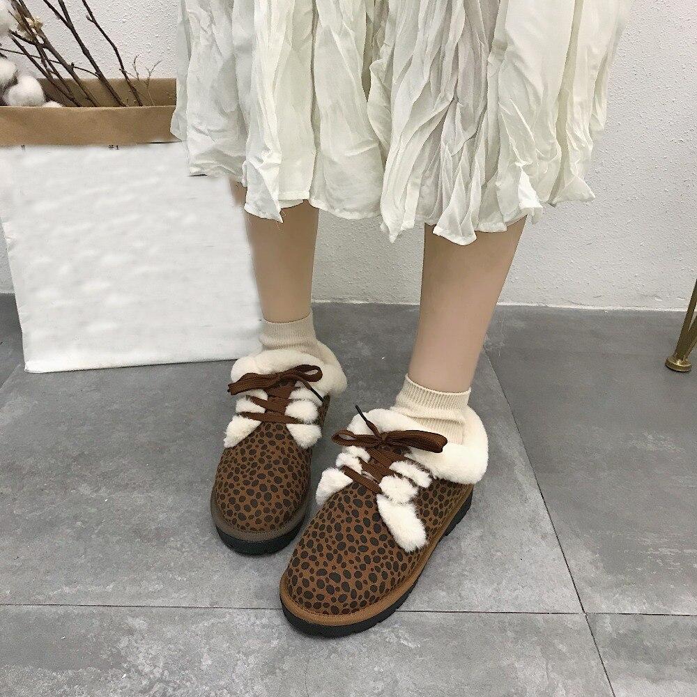 3df81db6b101 Peluche Rond Plat Mode Lacets De D hiver Chaud En Appartements 2018 Femmes  Dames Chaussures Leopard marron Décor Noir Talons Bout ...