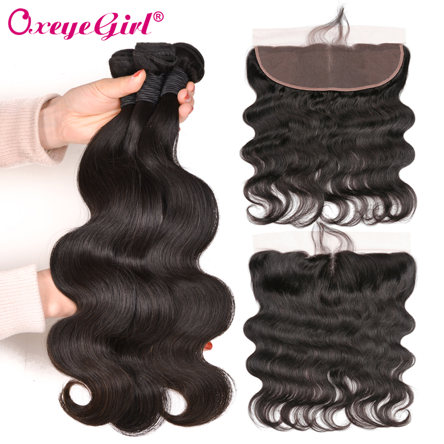 Oxeye Girl Peruvian Hair Bundles 4 x13 Lace Frontal Closure With Bundles Body Wave Human Hair