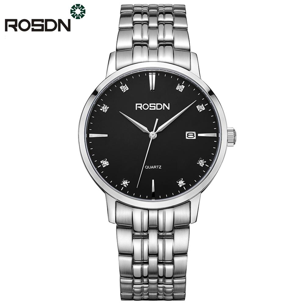 ROSDN Luxury Brand Watches Men Fashion Casual Quartz Watches 50m Waterproof Dress Watch Stainless Steel wrist watch for Men