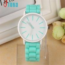 1 шт. силиконовой резинкой Красочные Для женщин Часы Аналоговые кварцевые наручные часы Reloj Mujer Творческий apr13
