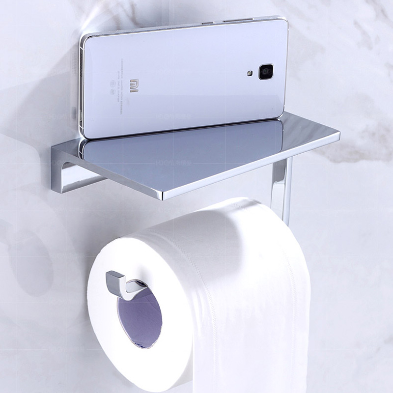Polish Chrome Roll Toilet Paper Tissue Holder Wall Mounted Brass Mobile Phone Holder Bathroom Shelf