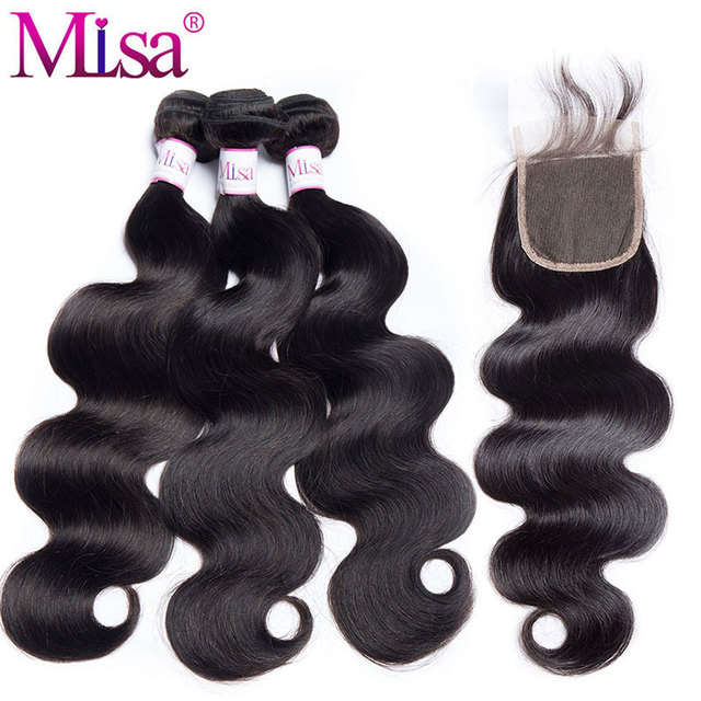 Mi Lisa Hair Peruvian Body Wave Bundles With Closure 3 Bundle Deals