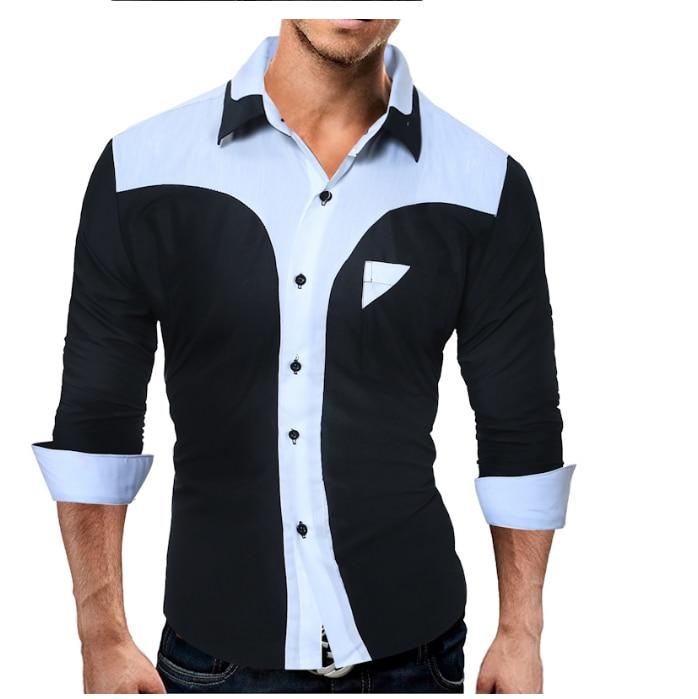 WSGYJ Brand 17 Fashion Male Shirt Long-Sleeves Tops Fashion Youth Hit Color Mens Dress Shirts Slim Men Shirt 3XL 16