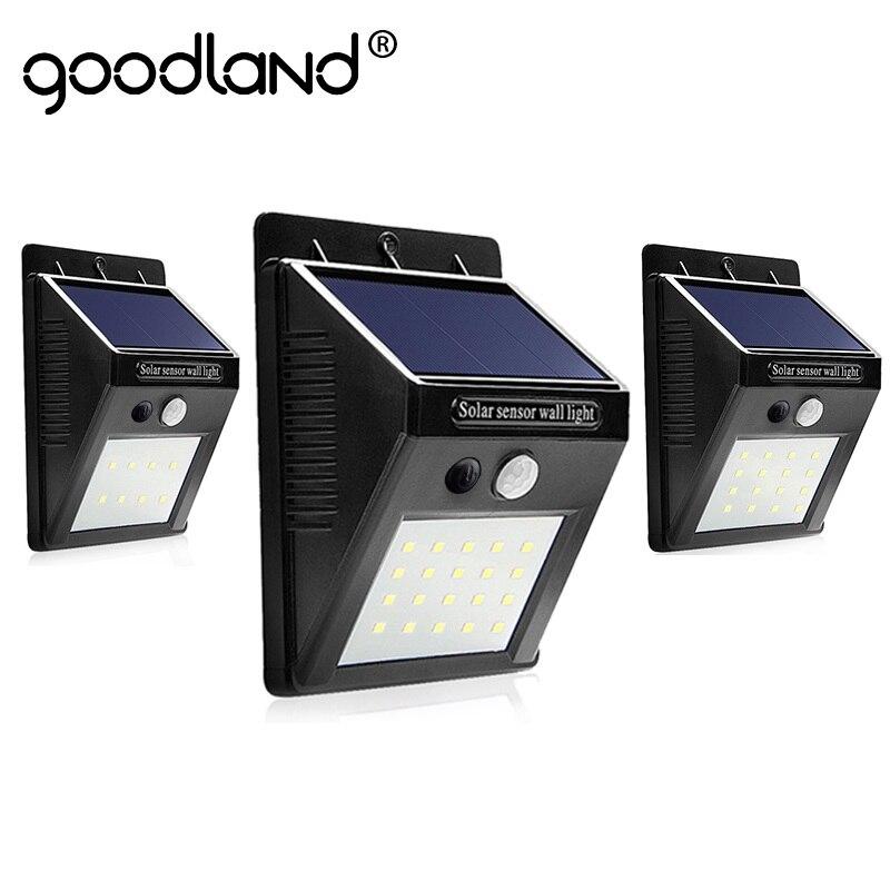 Goodland LED Solar Light Outdoor Solar Lamp With Motion Sensor Solar Powered Waterproof For Garden Decoration Wall Lamp