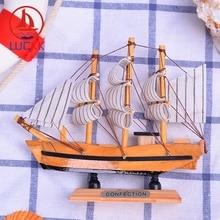LUCKK 14CM Wooden Model Ship Mediterranean Home Interior Offica Decoration Loft Wood Crafts Creative Nautical Ornaments Figurine
