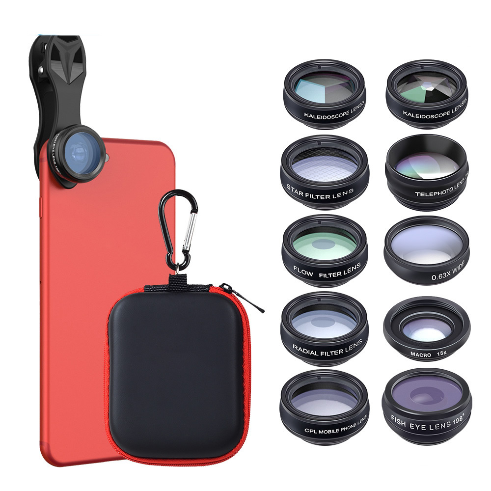 Multifunctional Filter Fisheye Wide-angle Macro-distance Polarization Ten-in-one Suit Universal Mobile Phone Lens slr phone bluetooth control photographic equipment camera cinema moun with wide angle lens and macro lens suits for mobile phone