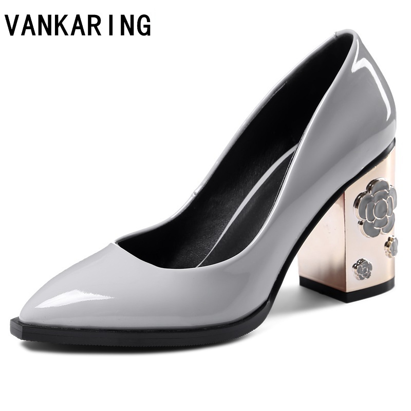 VANKARING 2019 fashion patent leather pumps fretwork high heels women platform dress casual shoes woman wedding