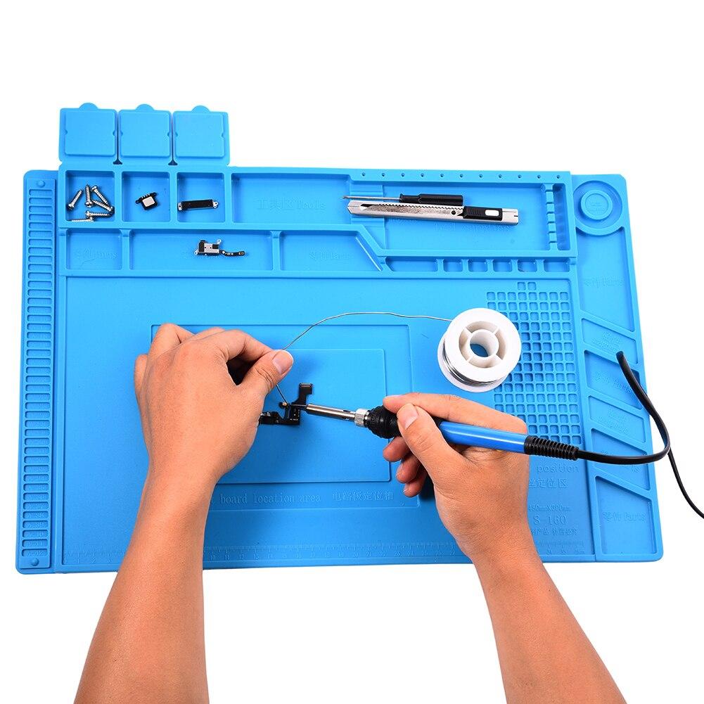 S-160 45x30 cm Wärmedämmung Silikon Pad Schreibtisch Matte Wartung Plattform Für BGA Löten Reparatur Station Mit Magnetische abschnitt