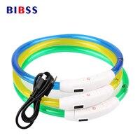 USB Charging Adjustable Pet Dog Collar LED Rechargeable Night Flashing Luminous Dog Collars Plastic Solid Neck