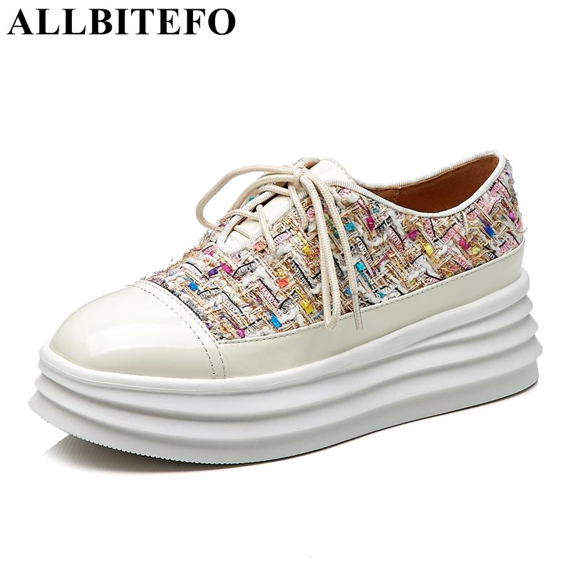 ALLBITEFO fashion brand genuine leather color cloth wedges heel platform women flats sport breather sneakers casual