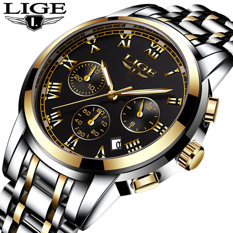 LIGE New Watches Men  Top Luxury Brand Chronograph Men Sports Watches Waterproof Full Steel Quartz Mens Watch Relogio MasculinoLIGE New Watches Men  Top Luxury Brand Chronograph Men Sports Watches Waterproof Full Steel Quartz Mens Watch Relogio Masculino