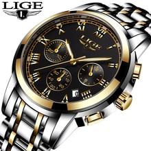 LIGE New Watches Men  Top Luxury Brand Chronograph Sports Waterproof Full Steel Quartz Mens Watch Relogio Masculino