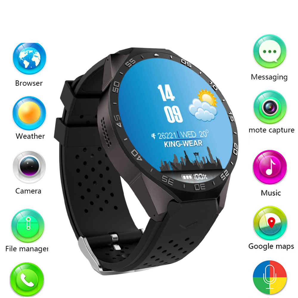 KW88 3G WIFI GPS bluetooth smart watch Android 5,1 MTK6580 CPU 1,39 pulgadas 2.0MP Cámara smartwatch para iphone huawei teléfono reloj