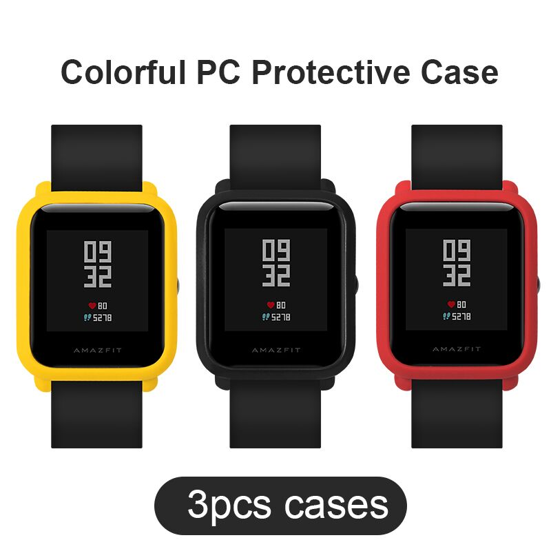 SIKAI 3 Pcs New Universal Watch Case Movement PC Protective Case For Xiaomi Huami Amazfit Bip Younth Colorful PC Watch Cases pudini protective pc case for nokia 929 blue