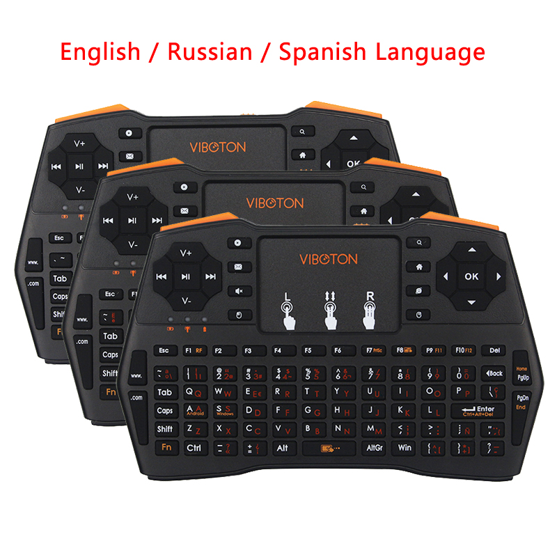 2.4G Mini Keyboard Wireless Touchpad With English/Russian/Spanish Language For PC Laptop Android TV Smart TV For Raspberry Pi