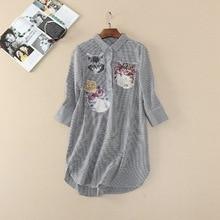 Newest 2017 Spring boyfriend style Plaid shirt fashion woman's cartoon cat loose shirts Girl's three quarter blouse