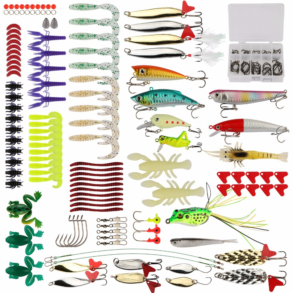 Goture 175pcs Lure Kit Minnow/Popper/Crankbait/Pencil/VIB/Spinner Metal Spoon Soft Lure Fishing Lure Set with Tackle Box goture 96pcs fishing lure kit minnow popper spinner jig heads offset worms hook swivels metal spoon with fishing tackle box