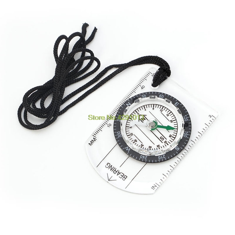 All In 1 Hiking Camping Outdoor Baseplate Compass Map MM INCH Measure Ruler Mini Drop Shipping Support