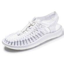 Moda Verão Homem Sandália de Praia Sandálias Homens Respiráveis Dos Homens de Couro Genuíno Causal Sapatos Plus Size 39-48