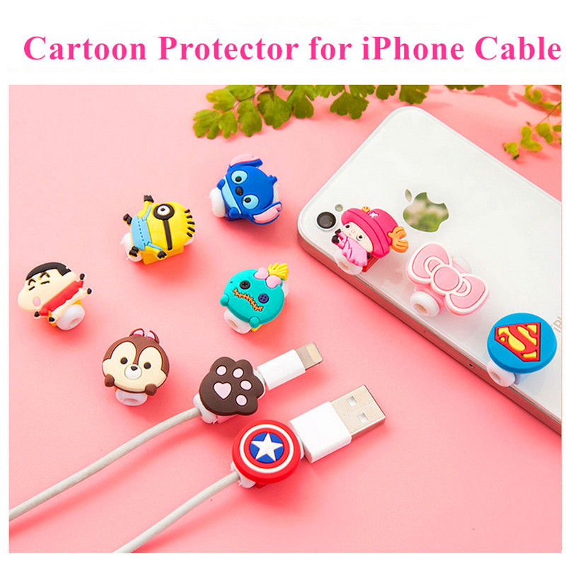 SIANCS Cartoon Charger Cable Protector For IPhone 5s 6 6s 7 7 8 Plus Cable Protect Gift  Cute Stitch Pink Kitty USB Cable Winder