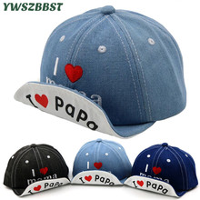 New I Love MAMA PAPA Print Soft Eaves Children Sun Hats Summer Sun Caps for Girls Cotton Baby Boys Baseball Cap Kids Beach Hat spring autumn winter baby beanie hat new born baby photography props children boys girls knitted i love papa mama baby caps h774