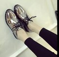 New arrival girl autumn spring wear-resistant flats 2017 black patent leather oxford shoes for women vintage lace up shoes