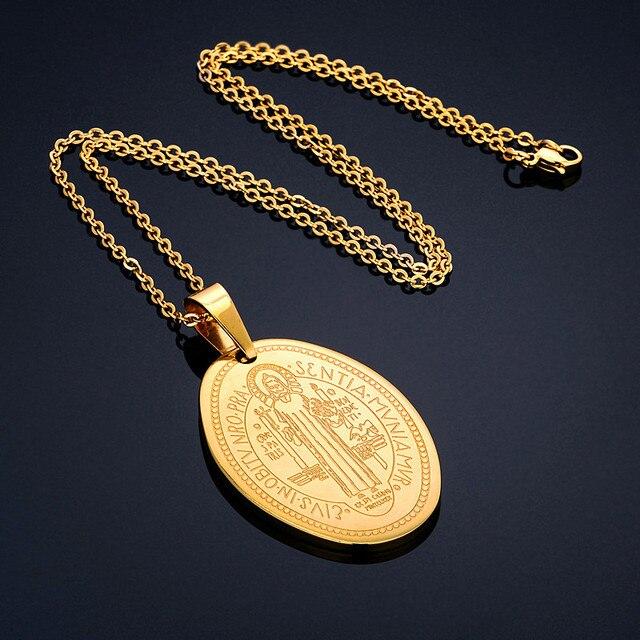 Saint Benedict Necklace Pendant Religious Medal Christian Jewelry