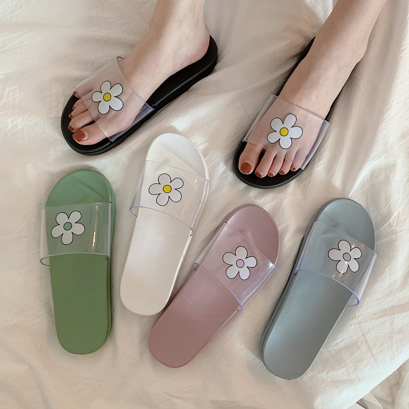 Korean Floral Patterned Shoes Transparent Women Slippers Hipster Flat Rubber Chic Slides Girl Funny Vogue Mules