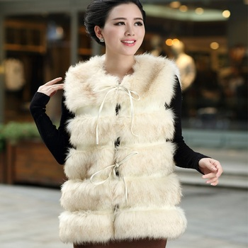 2017 women's medium-long faux fox fur outerwear faux vest fur overcoat